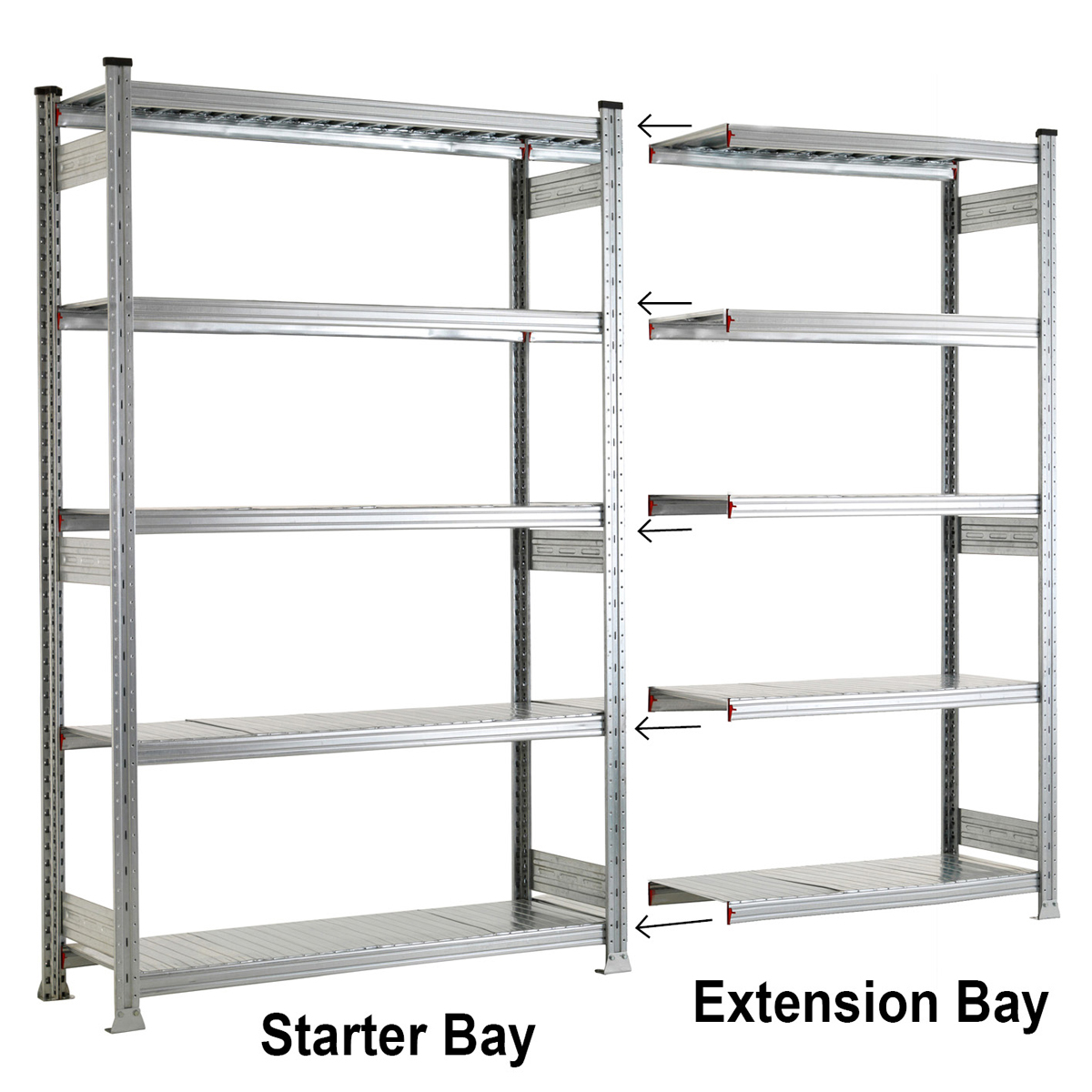 galvanised 5 level shelving system garage shelves garage accessories rh garagepride co uk steel storage racks for garage steel shelving for garage storage