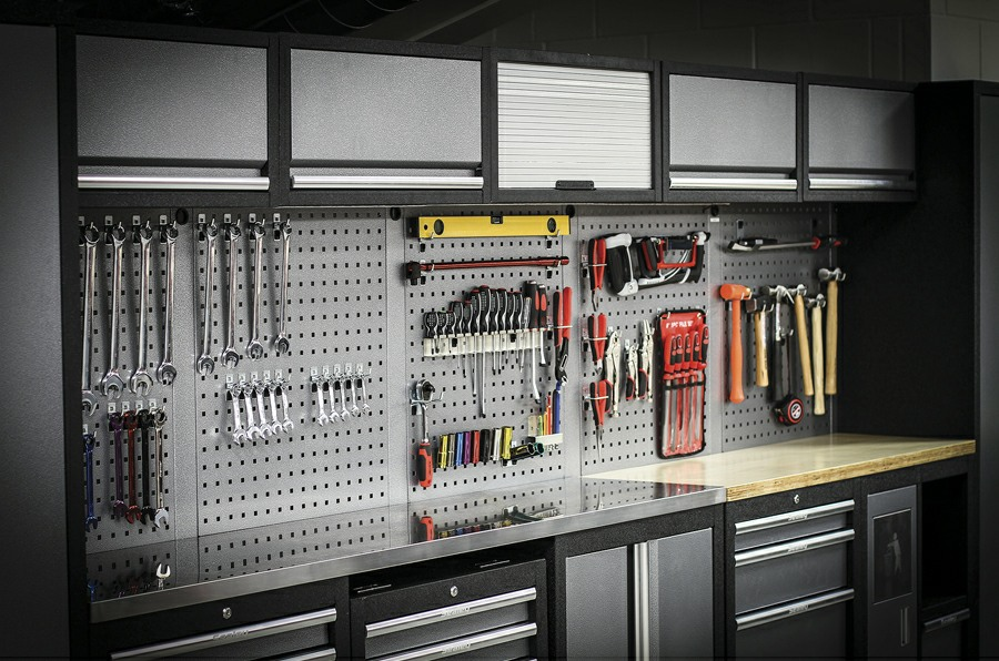 Sealey Superline Pro modular cabinets with tools on panels
