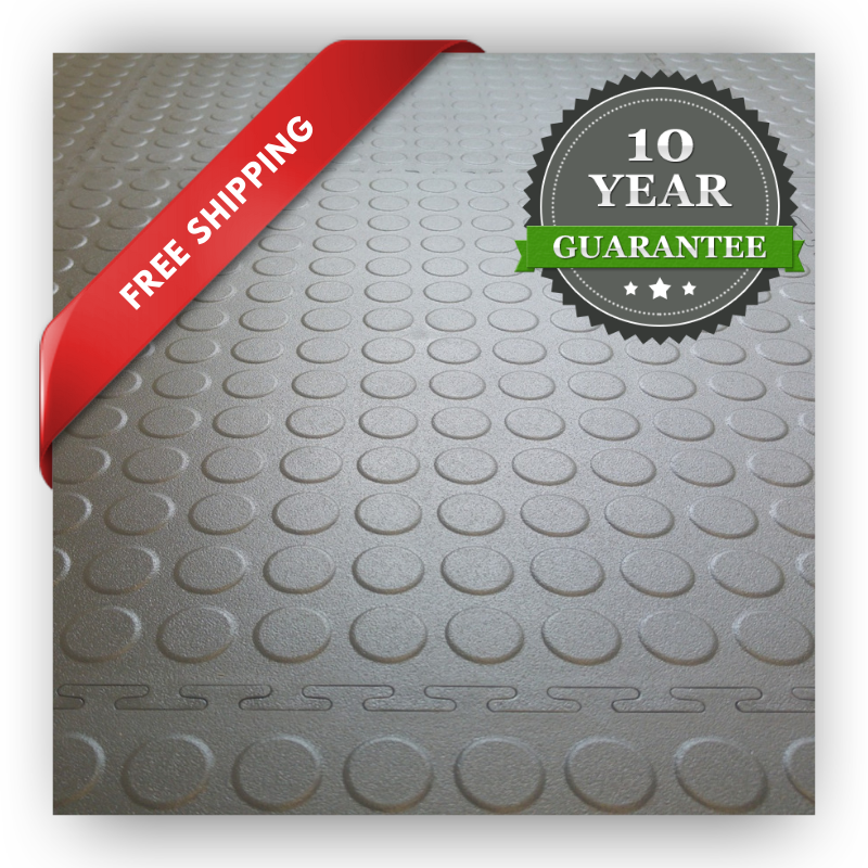 Garage flooring tiles in PVC showing a 10 years warranty label