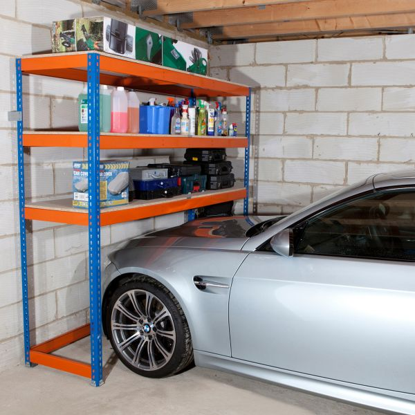 Car parked beneath garage shelves