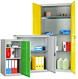 General steel storage cupboards with shelves