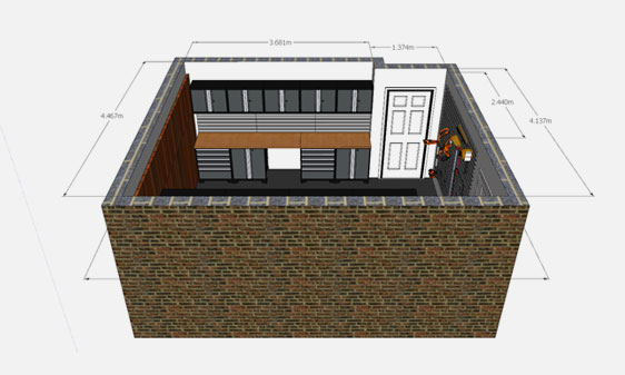 Technical drawing of a garage interior design